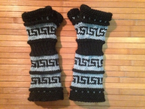 Salish Fusion fingerless mitts/arm warmers